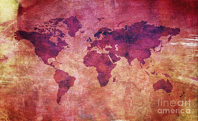 Art Print featuring the digital art  Colorful World Map by Mohamed Elkhamisy