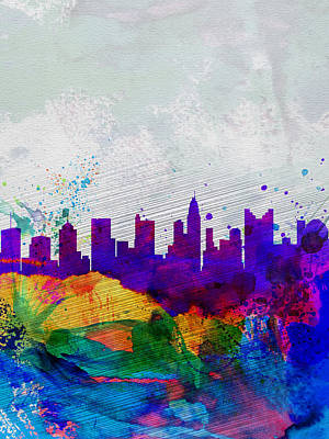 Architectural Painting -  Columbus Watercolor Skyline by Naxart Studio