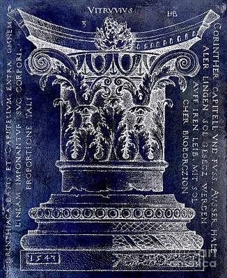 Corinthian Column Blue Art Print by Jon Neidert
