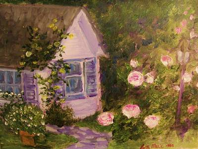 Cottage  In  The  Garden Art Print by Beth Arroyo