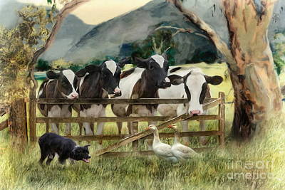 Collie Digital Art -  Country Characters by Trudi Simmonds