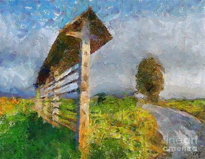 Modern Painting -  Country Road With Hayrack by Dragica  Micki Fortuna