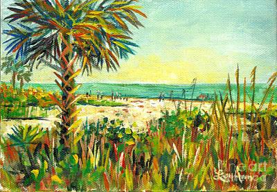 Roaring Red -  Crescent Beach Palm by Lou Ann Bagnall