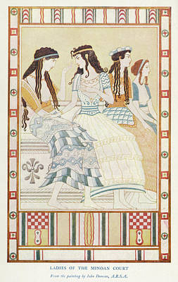 Minoan Drawing -  Crete -  Ladies Of The Minoan Court by Mary Evans Picture Library