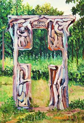 Justice Painting -  Cross Gate On The Hill by Misuk Jenkins