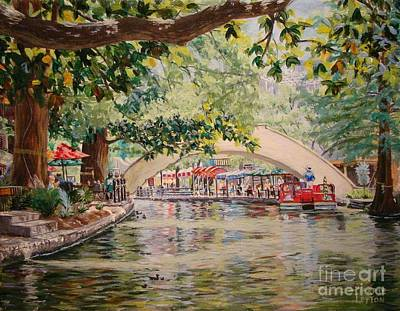 Riverwalk Painting -  Cruising On The River -riverwalk by Terrie Leyton
