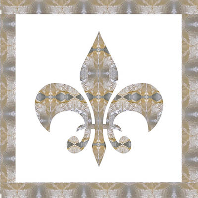 Painting -  Crystal Stone Jewel Flower Fleur De Lis Buy Faa Print Gifts Or Download For Self Printing by Navin Joshi