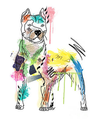 Dog Abstract Art Digital Art -  Cute Pit Bull by Mark Ashkenazi