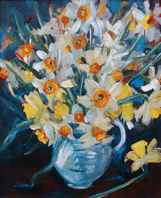 Spring Flowers Painting -  Daffs by Gloria Wallington