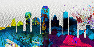 Dallas Skyline Wall Art - Painting -  Dallas City Skyline by Naxart Studio