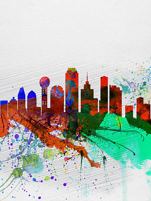 Architectural Painting -  Dallas Watercolor Skyline by Naxart Studio