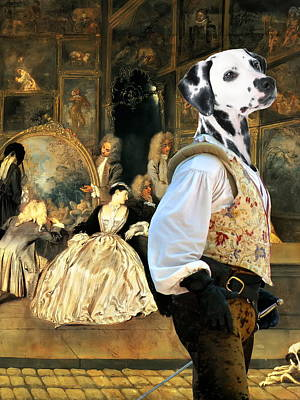 Painting -  Dalmatian Art Canvas Print - The Fencer In Antique Shop by Sandra Sij
