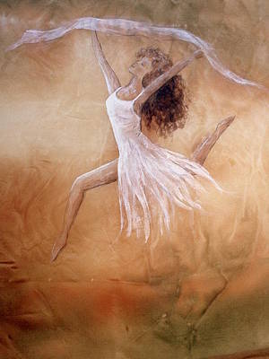 Painting -  Dancer Leap In Double Attitude by Hazel Millington