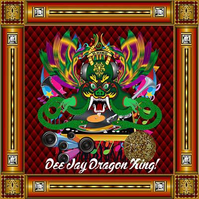 Bossa Nova Digital Art - Dee Jay Dragon King Vector Sample by Bill Campitelle