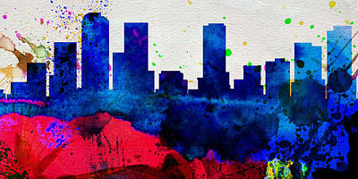 Denver Skyline Wall Art - Painting -  Denver City Skyline by Naxart Studio