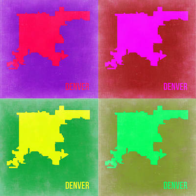 Country Map City Map Painting -  Denver Pop Art Map 2 by Naxart Studio