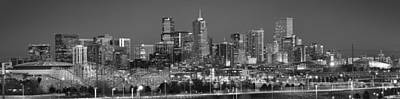 Photograph -  Denver Skyline At Dusk Black And White Bw Evening Extra Wide Panorama Broncos  by Jon Holiday