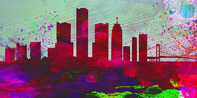 Detroit Wall Art - Painting -  Detroit City Skyline by Naxart Studio