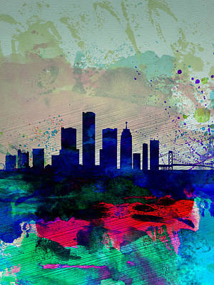 Detroit Wall Art - Painting -  Detroit Watercolor Skyline by Naxart Studio