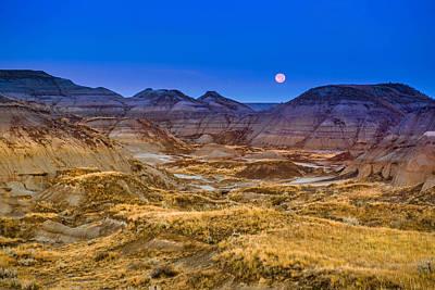 Print featuring the photograph  Dinosaur Harvest Moon by Rob Tullis