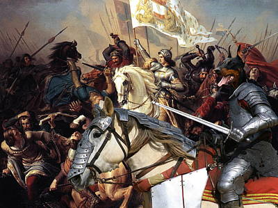 Painting -  Doberman Pinscher Art Canvas Print - Battle Of  Jeanne D Arc by Sandra Sij