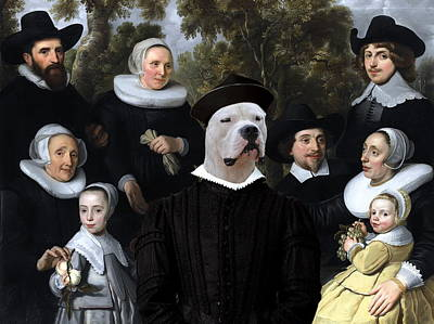Painting -  Dogo Argentino Art Canvas Print - An Unknown Family In A Landscape by Sandra Sij