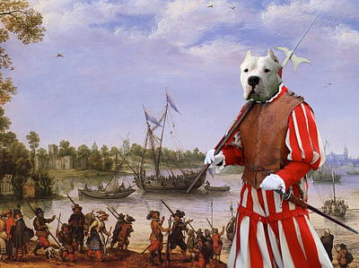 Painting -  Dogo Argentino Art Canvas Print - Gathering Before The Battle by Sandra Sij