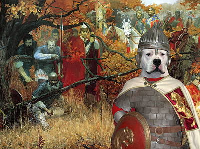 Painting -  Dogo Argentino Art Canvas Print - Where Is Enemy by Sandra Sij