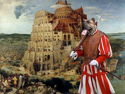 Painting -  Dogo Canario - Perro De Presa Canario Art Canvas Print - The Tower Of Babel  by Sandra Sij