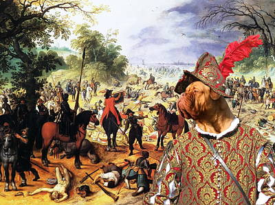 Painting -  Dogue De Bordeaux Art Canvas Print - The Fight Of The Cavalery by Sandra Sij