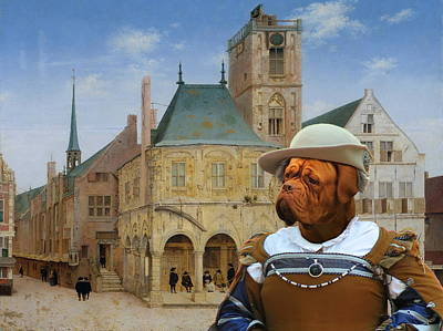 Painting -  Dogue De Bordeaux Art Canvas Print - The Rich Lady Merchant Awaiting Delivery by Sandra Sij