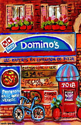 Montreal Storefronts Painting -  Domino Pizzeria Resto Bistro Cote St Luc Pizza Pie Cafe Paintings Cityscenes Carole Spandau by Carole Spandau