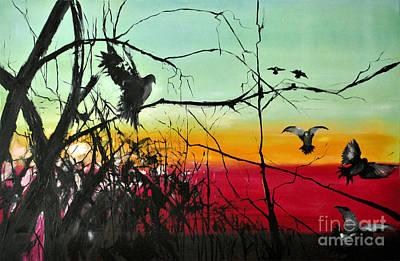 Sun Rays Painting -  Doves At The Dawn by Maja Sokolowska