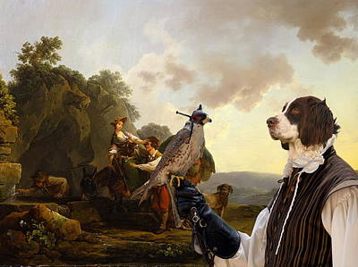 Painting -  Drentse Patrijshond Art Canvas Print - Travelers With Hounds And Heavily Laden Mules At A Well by Sandra Sij
