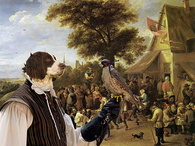 Painting -  Drentse Patrijshond Art Canvas Print - Village Celebration With Falconer by Sandra Sij