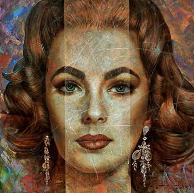 Famous Actresses Painting -  Elizabeth Taylor by Arthur Braginsky