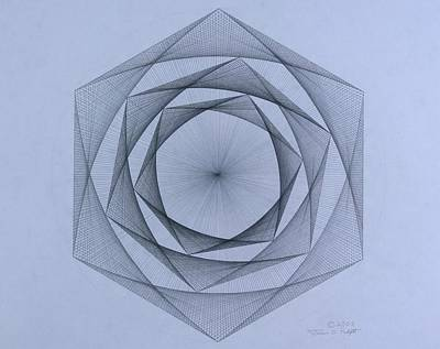 Drawing -   Energy Spiral by Jason Padgett
