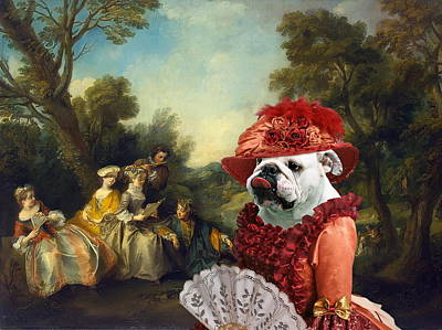 Painting -  English Bulldog Art Canvas Print - Concert In The Park by Sandra Sij