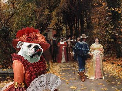 Painting -  English Bulldog Art Canvas Print - Left Mistress by Sandra Sij
