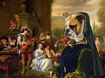 Painting -  English Bulldog Art Canvas Print - The Garden Party by Sandra Sij