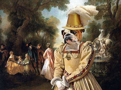 Painting -  English Bulldog Art Canvas Print - The Noble Party In Palace Park by Sandra Sij