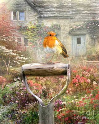 Art Print featuring the digital art  English Robin by Trudi Simmonds