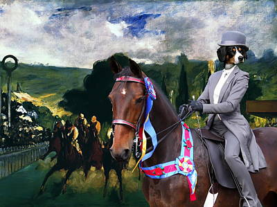 Painting -  Entlebucher Sennenhund  - Entelbuch Mountain Dog Art Canvas Print -who Is The Winner Of The Race by Sandra Sij