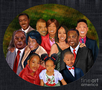 African American Family Painting -  Family Portrait  by Reggie Duffie