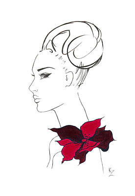 Painting -  Fashion Illustration - Black And Cream Print Of Woman Face With Red Floral Corsage.   by Kate Zucconi