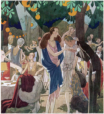 Fashionable People In An Open- Air Art Print by Mary Evans Picture Library