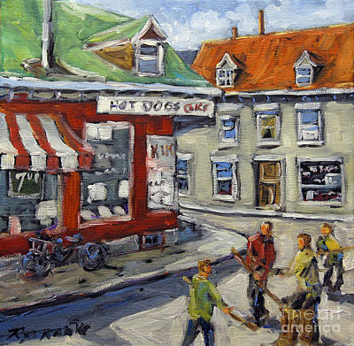 Street Hockey Painting -  Faubourg A M'lasse Hockey Kids Montreal By Prankearts by Richard T Pranke