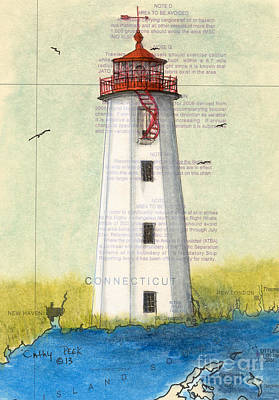 North Haven Island Painting -  Faulkner Island Lighthouse Ct Nautical Chart Map Art by Cathy Peek