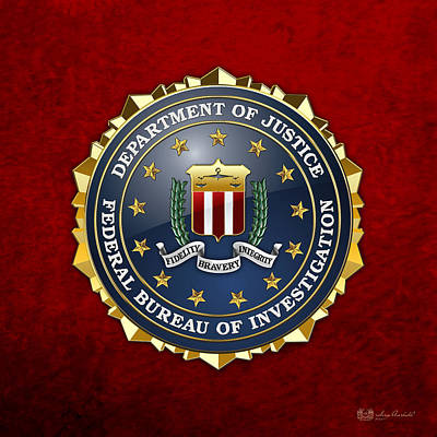 Federal Bureau Of Investigation - F B I Emblem On Red Velvet Art Print by Serge Averbukh