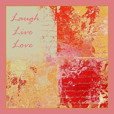 Red Leaf Digital Art -  Feuilleton De Nature - Laugh Live Love - 01efr01 by Variance Collections